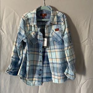 NWT 7 for all mankind toddler button plaid down